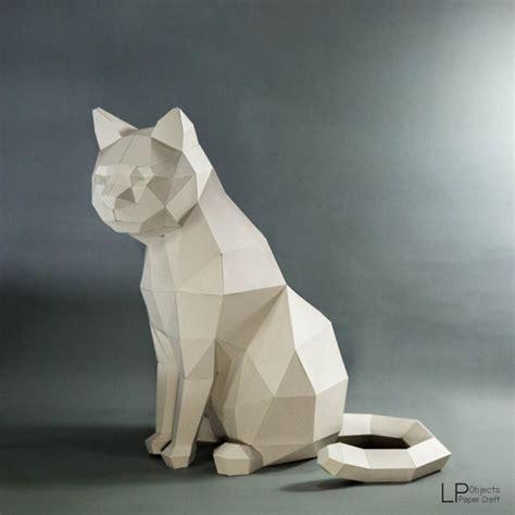 Blender Papercraft - cat model cat low poly cat sculpture pet cat kit
