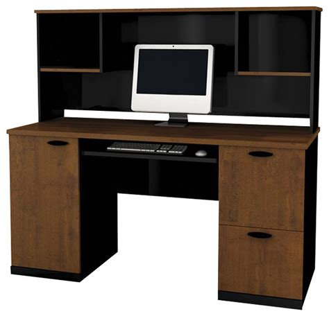 Bestar Hton Office Computer Desk With Hutch In Tuscany Black Desk With Hutch