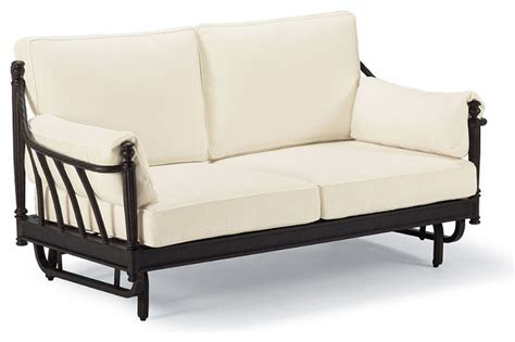 Loveseat Patio Furniture by Sorrento Gliding Outdoor Loveseat With Cushions