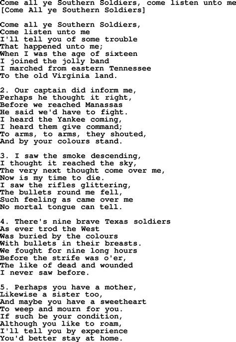 soldier song american song lyrics for come all ye southern soldiers come listen unto me