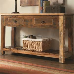 Reclining Sofa For Sale by Rustic Reclaimed Wood Console Table With Drawers