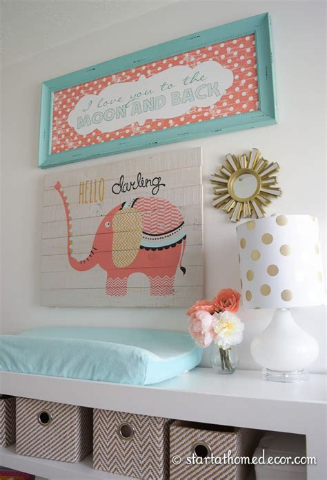 Coral And Teal Nursery With A Custom Made Name Cutout By Coral Nursery Decor