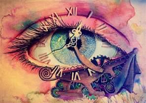 Strange Clocks cool strange eye blue pink image 543977 on favim com