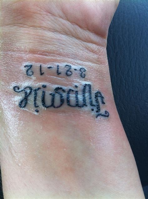 wife name tattoo designs ambigram with husband s names and anniversary