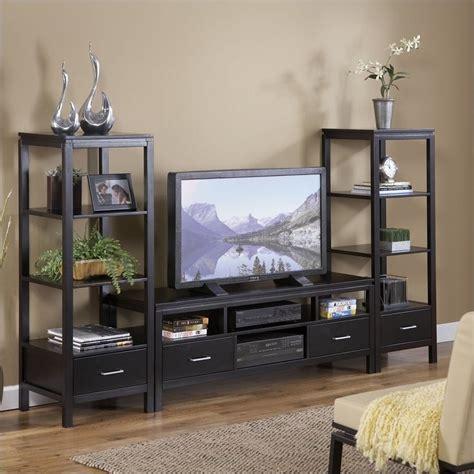 Linon Home Decor Bar Stools by Plasma Center Tv Stand And Towers Set 84026blk 01 Kd U Pkg
