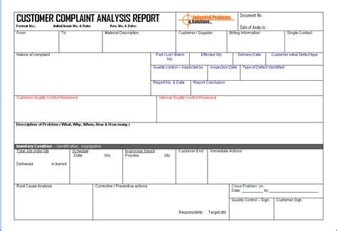 Complaint Report Template