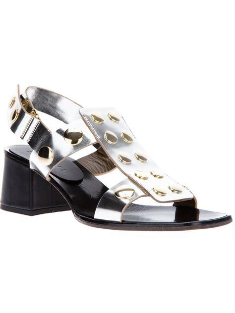 silver chunky heel sandals marni chunky heel sandal in silver lyst