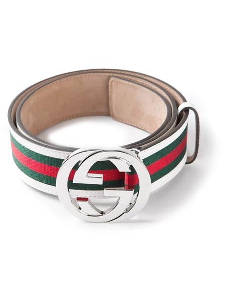Gucci White gucci striped belt in white for lyst