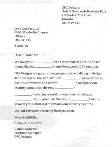 Business Documents Letter Of Enquiry exle business letter of enquiry