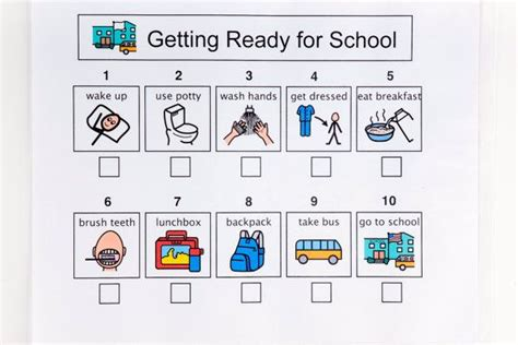 getting ready for getting ready for school sequence sheet 10 steps