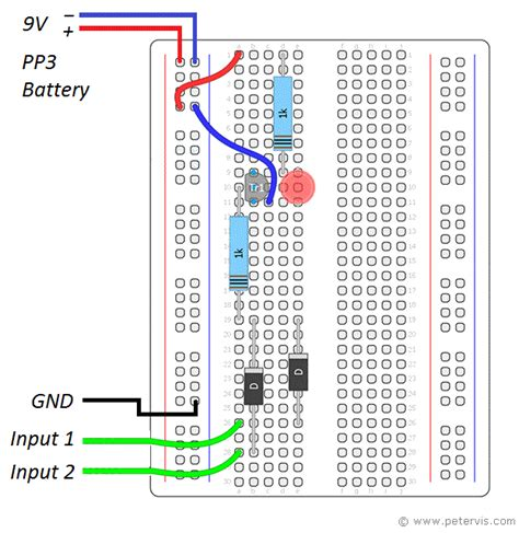 and gate transistor breadboard nor gate using diode and transistor dtl