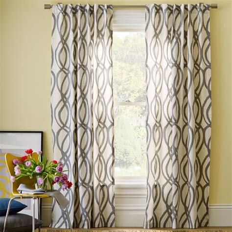 Contemporary Window Curtains Scribble Window Panel Feather Gray Contemporary Curtains By West Elm