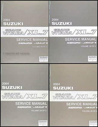 online car repair manuals free 2004 suzuki vitara user handbook 2004 suzuki grand vitara xl 7 repair shop manual 4 volume set original