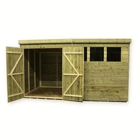 12ft X 4ft Shed 12 X 4 Pressure Treated Tongue And Groove Pent Shed With 3