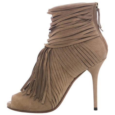 peep toe fringe boots gucci suede peep toe fringe ankle boots at 1stdibs