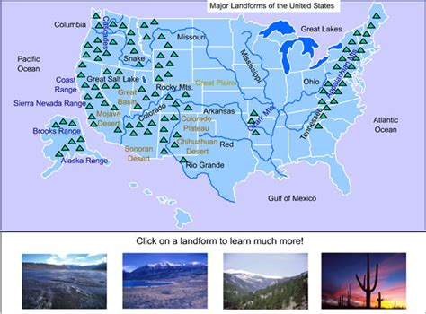 map of the united states landforms united states landforms