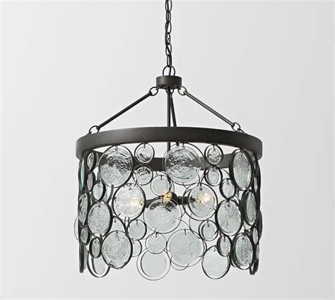 Recycled Glass Chandeliers Emery Indoor Outdoor Recycled Glass Chandelier Pottery Barn Wrought Iron Finish Looks Darker