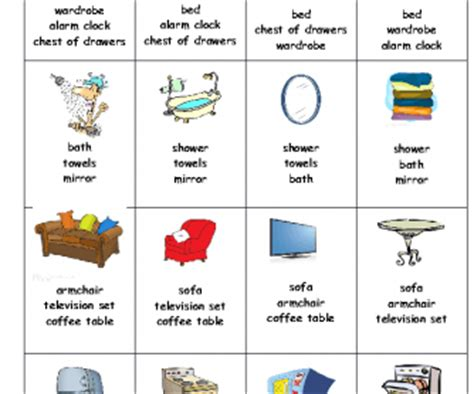 bedroom objects in french furniture card game happy families