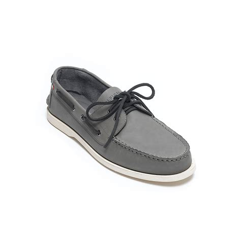 hilfiger leather boat shoe in gray for