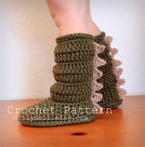 crochet dinosaur slippers dinosaur slipper boots on etsy crochet