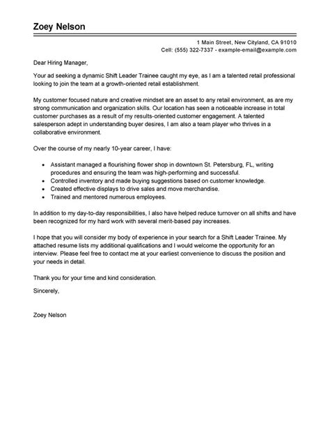 Service Letter For Trainee Best Shift Leader Trainee Cover Letter Exles Livecareer