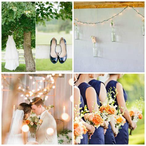 wedding color inspiration peach  navy rustic