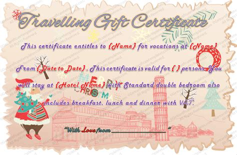 Holiday Travel Gift Certificate Template Printable Travel Voucher Template