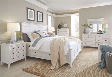 White Bed by Heron Cove Chalk White Storage Panel Bedroom Set From