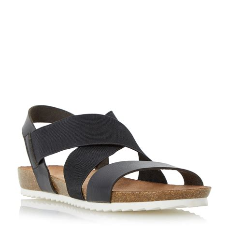 cross shoes for flat dune laurelle cross flat sandals in black lyst