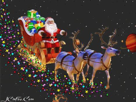 christmas santa claus flies through the sky in his