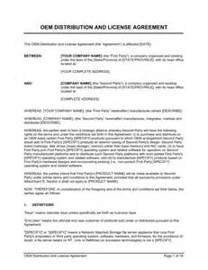 oem distribution and license agreement template amp sample form