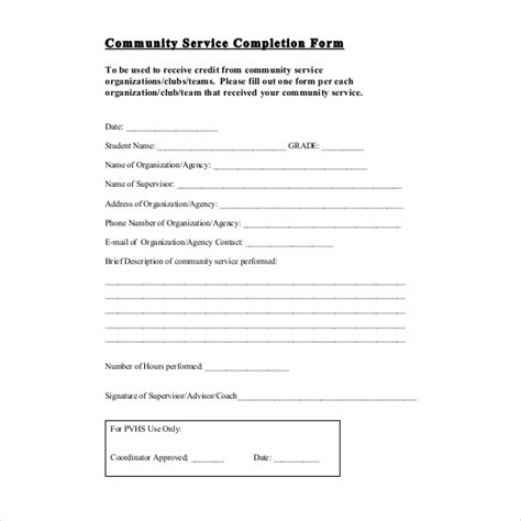 12 Sle Community Service Forms Sle Forms Community Service Form Template