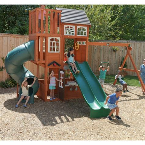 garden play centre outdoor wooden playhouse large tree