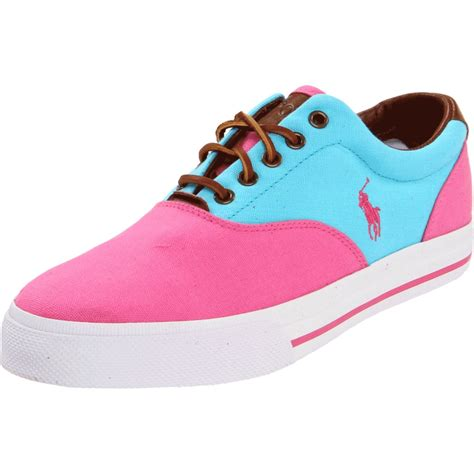 polo shoes polo ralph vaughn saddle sneaker in pink for