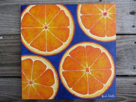 orange painting kitchen decor fresh bold bright orange fruit painting