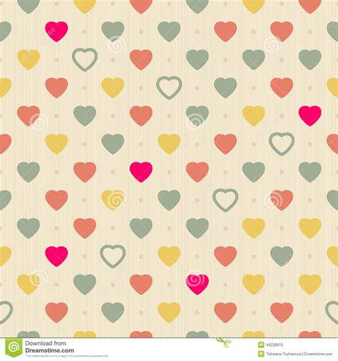 pattern background page vintage retro seamless pattern with colorful hearts on