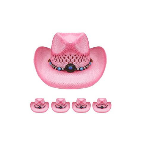 Cowboy Hat Pink 24 units of two tone pink cowboy hat at alltimetrading