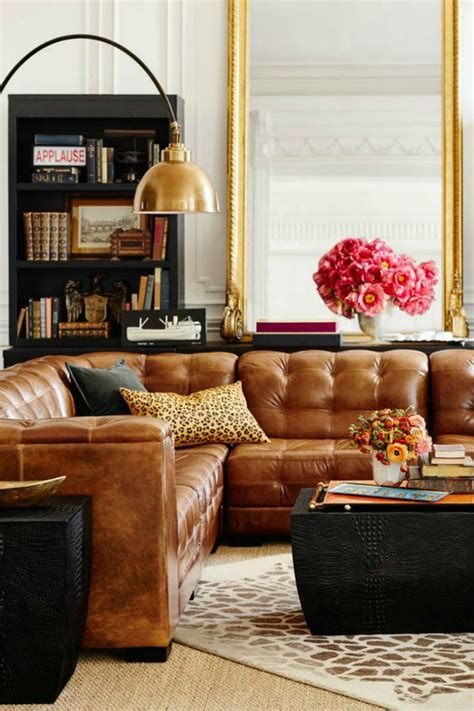 leather sofa living room ideas tanned leather sofas are the decorating trend of