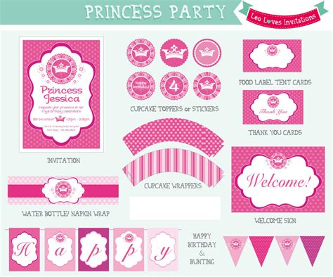 free printable party decorations princess princess party printable leo loves invitations