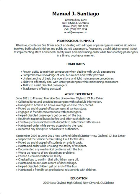 Resume Sle For School Driver Professional Driver Templates To Showcase Your Talent Myperfectresume