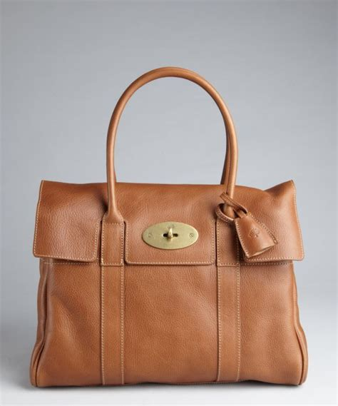 Artist Julie Verhoeven For Designer Mulberry Shopper Tote by Mulberry Oak Brown Leather Bayswater Top Handle Bag In