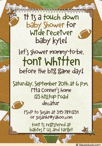 Free Football Baby Shower Invitations by Football Baby Shower Invitation Touch Wide Receiver