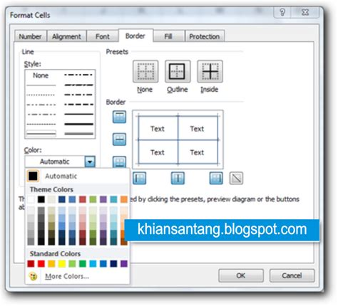 format cell adalah cara memberi warna garis tabel pada ms excel