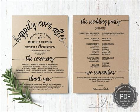 wedding program pdf card template instant