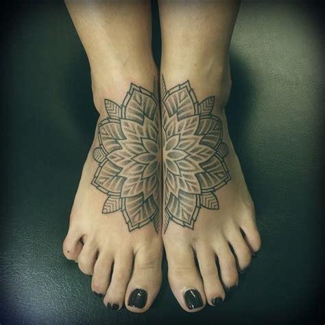 mandala tattoo on ankle grey ink mandala flower tattoo on feet