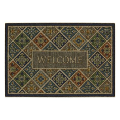 door mat rugs mohawk home tile garden welcome impressions 24 in x 36 in door mat 551872 the home depot