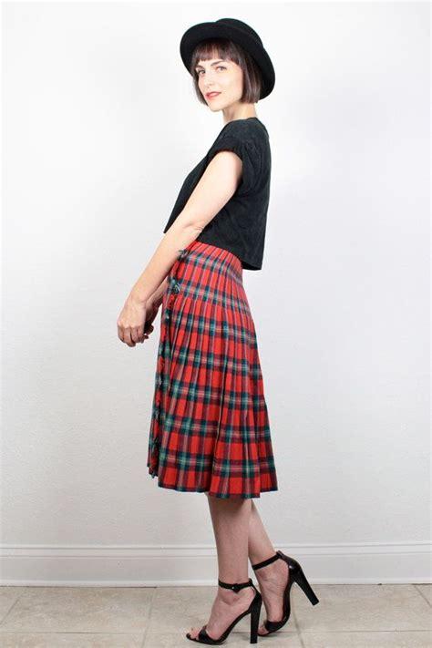 vintage tartan plaid skirt midi skirt fringe hem