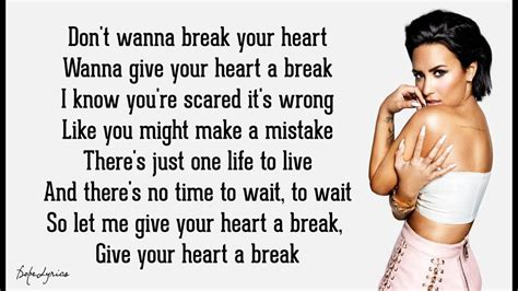 lyrics to demi lovato give your heart a break demi lovato give your heart a break lyrics youtube
