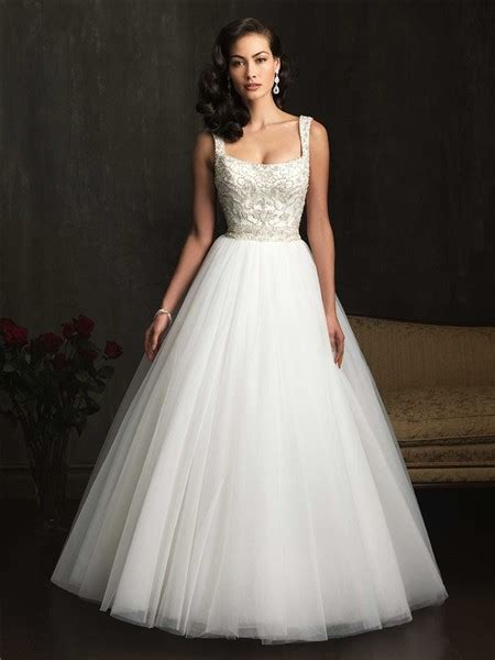 ball gown square neck embroidery beading tulle wedding
