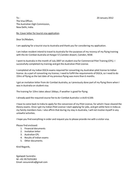 Cover Letter Sle For Visa Application To Australia Cover Letter